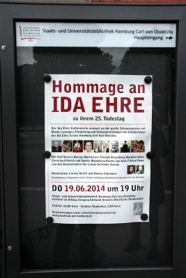 Plakat zur 'Hommage an Ida Ehre' - Foto: © 2014 by Schattenblick